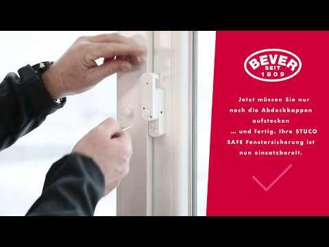 Bever & Klophaus GmbH, STUCO SAFE Fenstersicherung, Montagevideo 22S, einflügelig, mit Pilzkopf