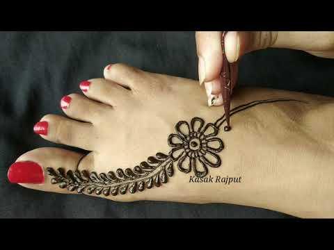 easy leg mehndi design for beginners by kasak rajput