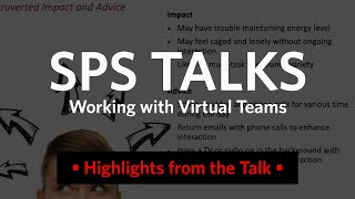 SPS Talks: Working on Virtual Teams (Recap)