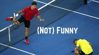 Tennis. Hitting The Opponent   (Not) Funny Moments