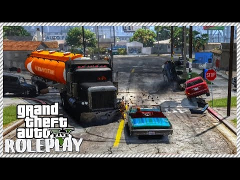 GTA 5 ROLEPLAY - Massive Fuel Tanker Crashes In Civilian Cars | Ep. 37 Civ