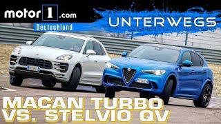 Alfa Romeo Stelvio QV vs. Porsche Macan Turbo PP   UNTERWEGS mit Daniel Hohmeyer   Kholo.pk