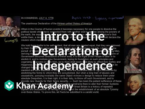 Background and introduction to the United States Declaration of Independence