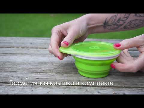 Munchkin дорожная детская тарелочка с крышкой 12+ зелёная