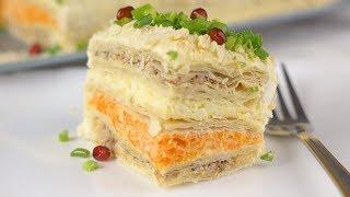 """Закусочный Торт """"Наполеон"""". Самый Вкусный Торт-Салат на Новогодний стол 2019"""