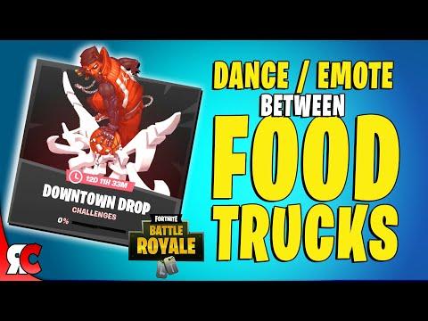 Dance Between Two Food Trucks (Downtown Drop Challenge in Fortnite)