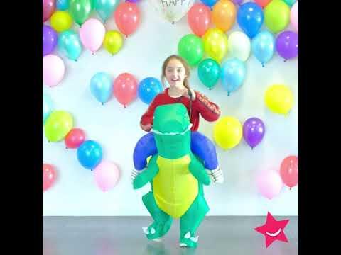 Disfarce humorístico dinossauro para criança