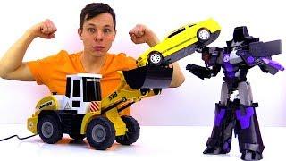 Чья машинка круче? Соревнование Фёдора и Мегатрона. Игры с Трансформерами.