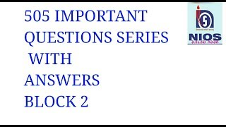 505 BENGALI IMPORTANT QUESTIONS SERIES  WITH ANSWERS  BLOCK 2