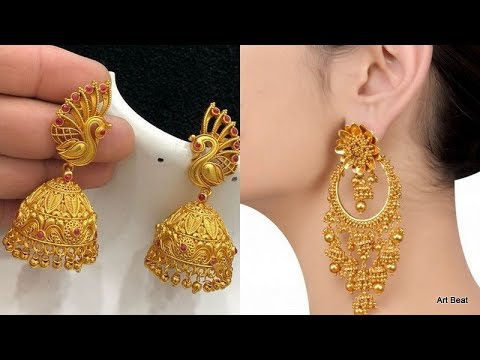Beautiful Gold Earrings Designs - Latest Fashion Traditional Gold Jewellery