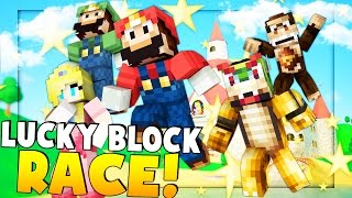 SUPER MARIO LUCKY BLOCK RACE - Minecraft Mod Battle