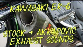 Kawasaki ER 6N 6F Ninja 650 Akrapovic Exhaust Sounds WITHOUT DB