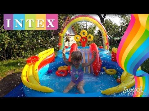 Piscina infl vel c escorregador playground intex 57453 for Piscina inflavel arco iris intex playground com escorregador