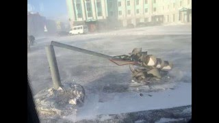 Severe Wind in Norilsk, Russia. March 21, 2016