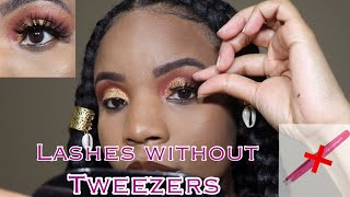 How To Put On Lashes WITHOUT ❌ tweezers! Shine girl mink lashes review