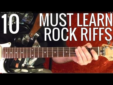 10 Rock Riffs - Guitar Lesson - Beginners