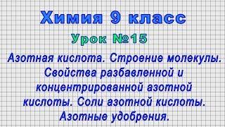 Химия 9 класс Урок 15 - Азотная кислота. Строение молекулы.Соли азотной кислоты.Азотные удобрения.