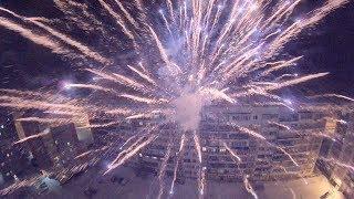 Полет квадрокоптера над городом в новогоднюю ночь. Стрежевой. FPV