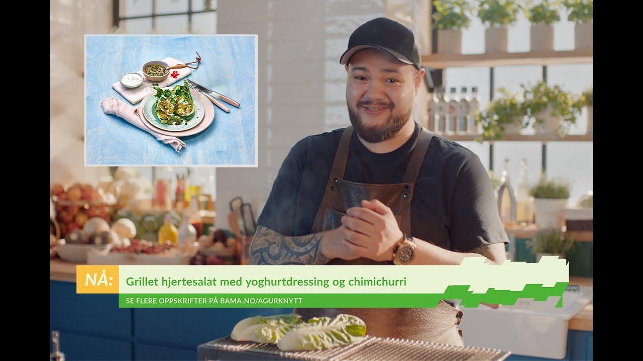 Grillet hjertesalat med chimichurri og yoghurtdressing