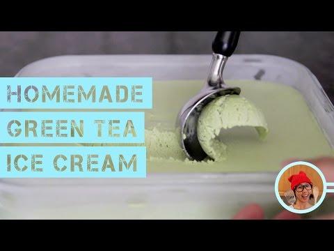 Video Homemade Green Tea Ice Cream (No Machine, No Churn)
