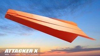 MY LONGEST DISTANCE PAPER AIRPLANE - How to make a paper airplane that Flies Far | Attacker X