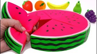 Microwave Surprise Cutting Fruit and Squishy Watermelon for Kids - Rainbow Learning