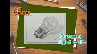 Drawing Light Bulb - White Ink Art Center