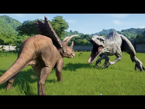Pentaceratops Destroys Indominus Rex, T-Rex, Spinosaurus and More - Jurassic World Evolution