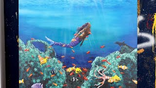Amazing Tropical Fish And Mermaid Acrylic Painting