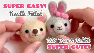 Easy DIY Needle Felting Bear & Rabbit | Super Cute Craft Tutorial For Beginners