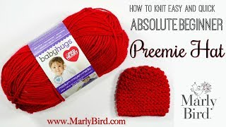 Free Beginner Knit Preemie Hat Pattern for Charity