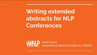 Tutorial: How to write an NLP paper (WiNLP@EACL 2021, 04/19/2021)