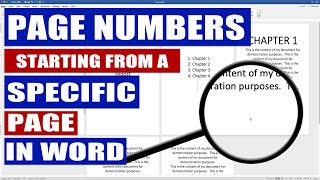 In WORD How to start PAGE NUMBERS on different page I Start PAGE NUMBERS on page 3, 4, ETC
