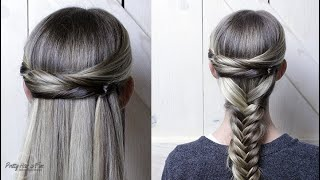 2 IN 1 HAIRSTYLES! HALF UP HAIR AND HALF UP FISHTAIL BRAID!