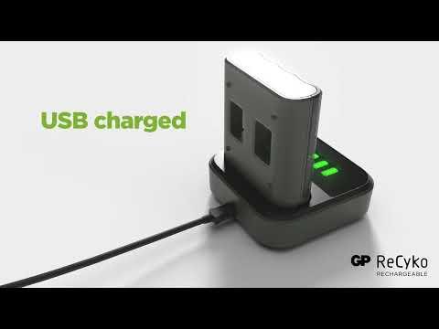 GP ReCyko Batterijlader USB B421 + Laaddock D451 + 4x AA 2100 mAh Batterijen