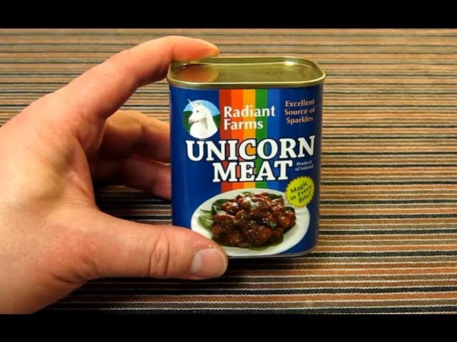Opening a tin of Canned Unicorn Meat - by Radiant Farms - An Excellent Source of Sparkles!