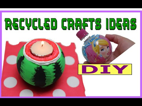 Recycled Bottles Crafts Ideas: DIY Plastic Bottle Watermelon Candle Holder