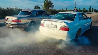 Сельская ВОЛГА шокировала BMW 5 E60 , TOYOTA CHASER и LEXUS IS на 1 JZ