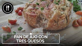 Pan de ajo y tres quesos, una receta de picoteo para compartir