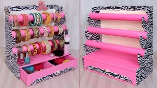Unique Bangle And Makeup Organizer Craft Idea    Diy Cardboard Crafts