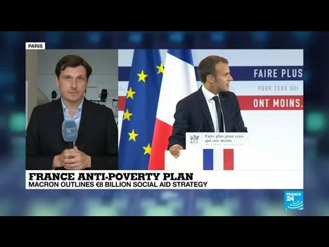 Macron seeks to win back leftwingers with anti-poverty plan