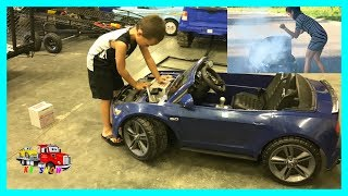 Powered Ride On Mustang On Fire Kruz To The Rescue Towing/Replacing The Battery on KV Show