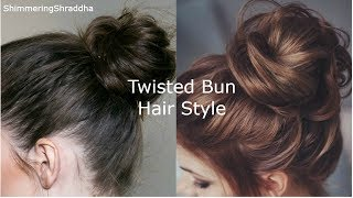 Quick & Easy Twisted Messy Bun Hairstyle For Short Hair|Simple Bun Hairstyle