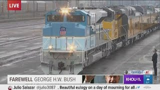 President Bush, family on train begin journey to College Station