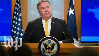 Pompeo speaks to reporters at State Department
