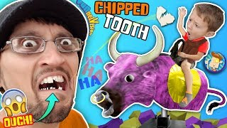 I CHIPPED a TOOTH PLAYING AROUND!! BULL RIDING @ TRAMPOLINE PARK FUNnel Family Vlog