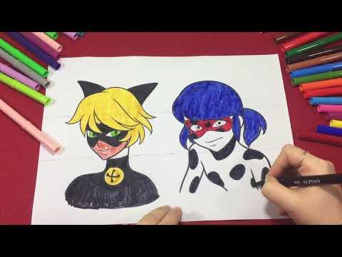 Renkli Vapur Uğur Böceği Ile Kara Kedi çizgi Film Karakteri Boyaması