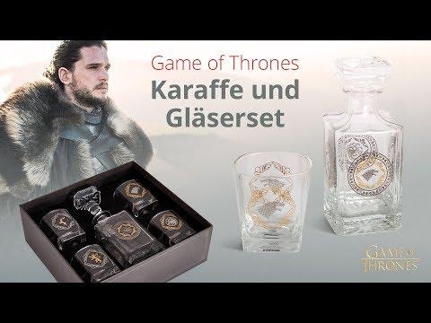 Game of Thrones: Karaffe und Gläser Set für Stark, Targaryen, Baratheon und Lannister