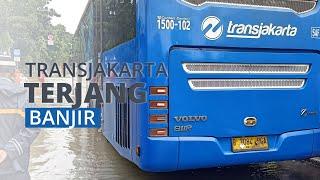 Bus Transjakarta Nekat Terobos Banjir di Kramat Jati Setinggi 100 Sentimeter