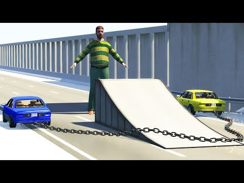 BeamNG Drive - Chained Cars against Giant Dummy